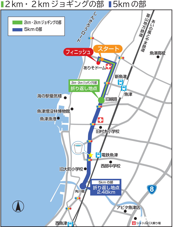 2km・2kmジョギング・5kmの部コースマップ